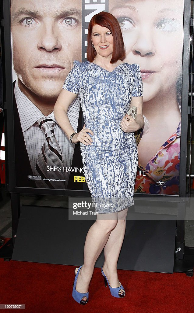 Kate Flannery arrives at the Los Angeles premiere of 'Identity Thief' held at Mann Village Theatre on February 4, 2013 in Westwood, California.