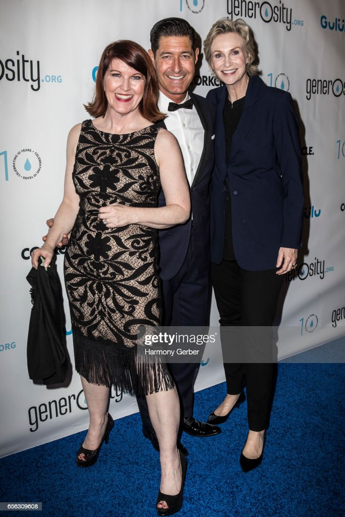 Kate Flannery, Jane Lynch and Tim Davis arrive at the Montage Hotel on March 21, 2017 in Beverly Hills, California.