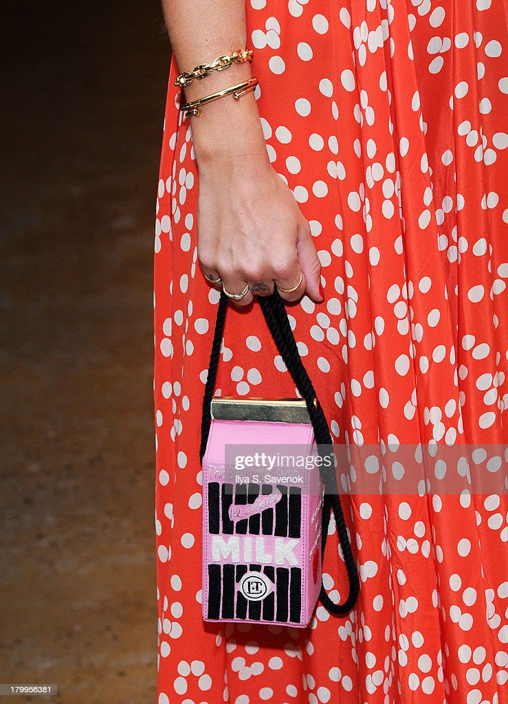 Kate Foley (purse detail) attends the Louise Goldin fashion show during MADE Fashion Week Spring 2014 at Milk Studios on September 7, 2013 in New York City.