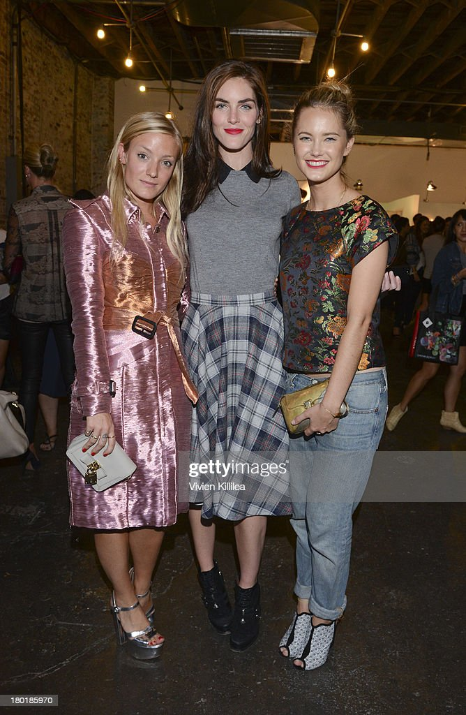 Kate Foley, model Hilary Rhoda and actress Nora Zehetner attends the Dannijo presentation during Mercedes-Benz Fashion Week Spring 2014 at Industria Studios on September 9, 2013 in New York City.
