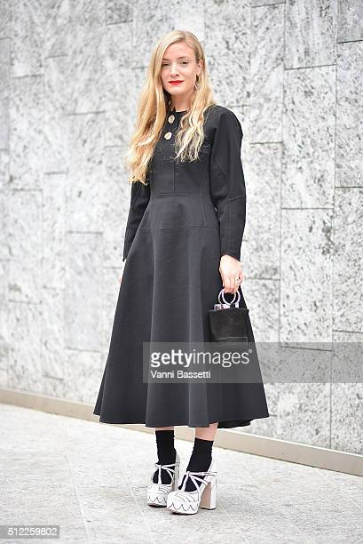 Kate Foley poses before the Costume National show during the Milan Fashion Week Fall/Winter 2016/17 on February 25 2016 in Milan Italy
