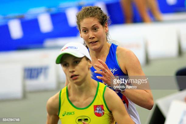 Kate French of Great Britain and Gintare Venckauskaite of Lithuania are seen during the Combined of the Women Qualifications at the UIPM senior...