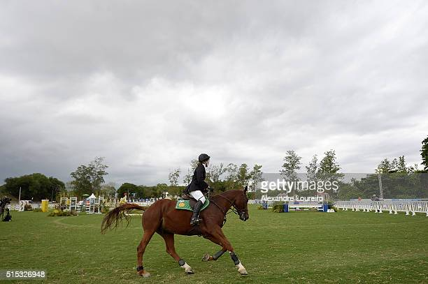 Kate French of Great Britain competes in the Riding during the Women's Modern Pentathlon Tournament Aquece Rio Test Event for the Rio 2016 Olympics...