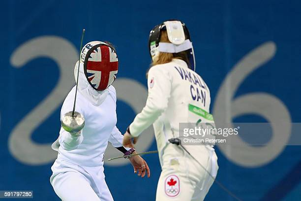 Kate French of Great Britain duels with Donna Vakalis of Canada during the Modern Pentathlon Womens Fencing classification round on Day 13 of the Rio...