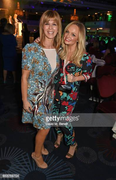 Kate Garraway and Emma Bunton winner of the Digital Radio Personality award pose at the TRIC Awards 2017 at The Grosvenor House Hotel on March 14...