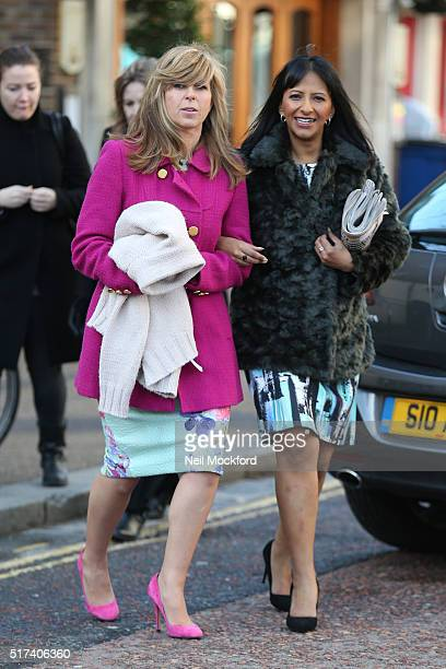 Kate Garraway and Ranvir Singh returning to the ITV Studios after being evacuated due to a fire on March 25 2016 in London England