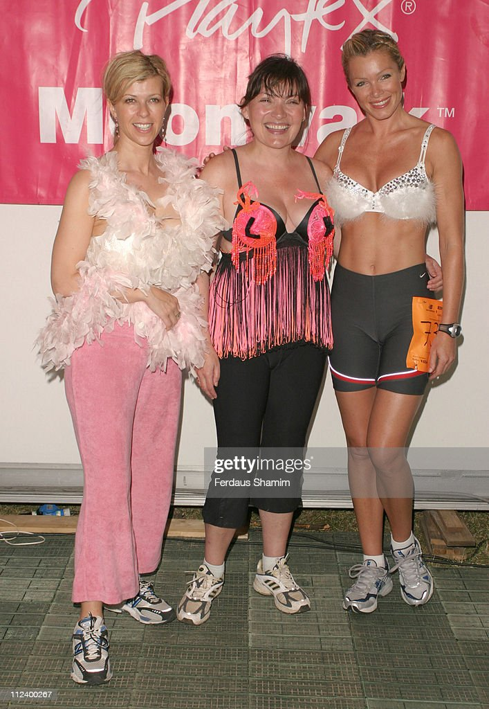 Kate Garraway Lorraine Kelly and Nell McAndrew during The Playtex Moonwalk 2005 at Hyde Park in London Great Britain
