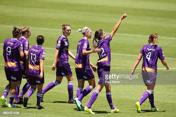 Kate Gill of the Glory celebrates after scoring the second goal during the WLeague semi final match between Perth Glory and Sydney FC at nib Stadium...