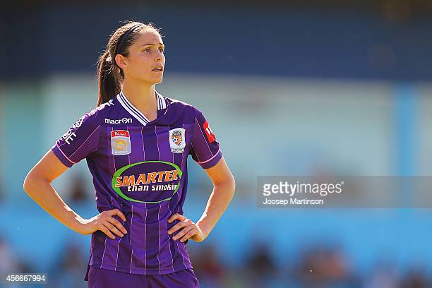 Kate Gill of the Glory looks on during the round four WLeague match between Western Sydney and Perth Glory at Marconi Stadium on October 5 2014 in...