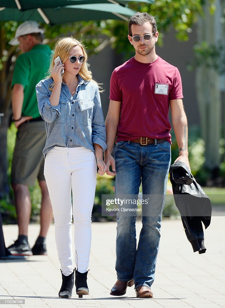 Kate Greer and Jack Dorsey, creator of Twitter and founder and CEO of Square Inc., during a lunch break at the Allen & Co. annual conference on July 10, 2013 in Sun Valley, Idaho. The resort will host corporate leaders for the 31st annual Allen & Co. media and technology conference where some of the wealthiest and most powerful executives in media, finance, politics and tech gather for weeklong meetings which begins Tuesday. Past attendees included Warren Buffett, Bill Gates and Mark Zuckerberg.