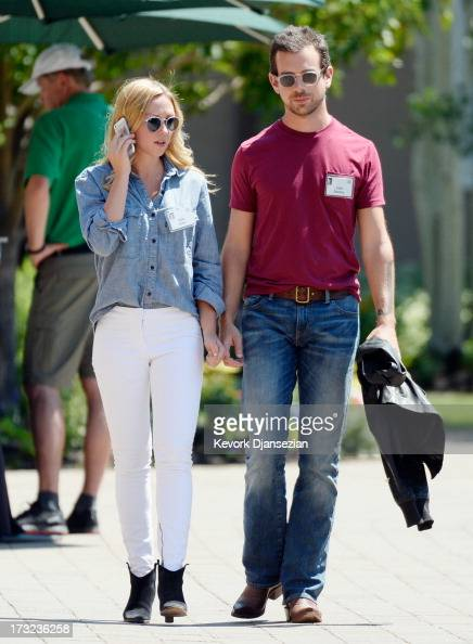 Kate Greer and Jack Dorsey creator of Twitter and founder and CEO of Square Inc during a lunch break at the Allen Co annual conference on July 10...