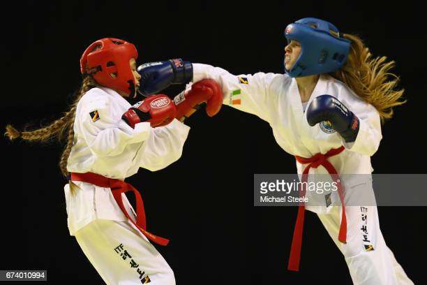 Kate Harold of Ireland competes with Alisa Popova of Russia in the Individual Sparring Child Female 35kg during day one of the 2017 European...