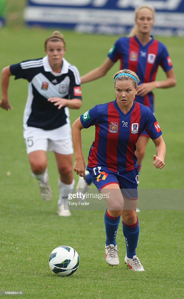 Kate Hensman of the Newcastle Jets controls the ball during the round 12 W-League match between the Newcastle Jets and the Melbourne Victory at Wanderers Oval on January 13, 2013 in Newcastle, Australia.