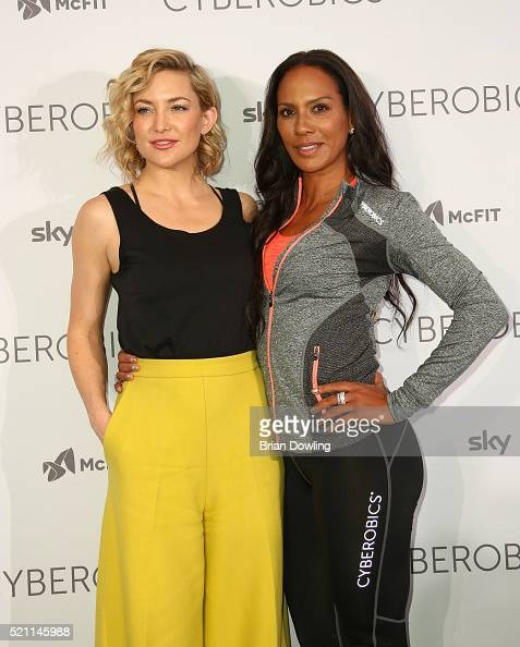 Kate Hudson and Barbara Becker attend the 'World of Cyberobics' presentation at Cyberobics on April 14 2016 in Berlin Germany
