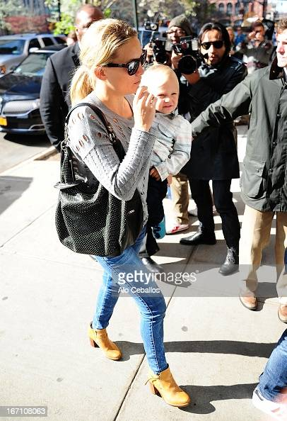 Kate Hudson and Bingham Hawn Bellamy are seen in Tribeca on April 20 2013 in New York City