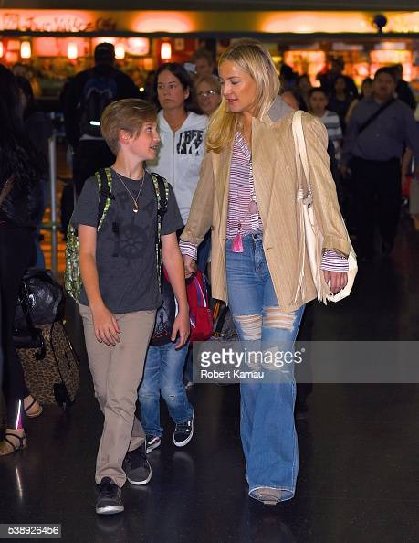 Kate Hudson and her son Ryder Robinson seen at JFK Airport on June 8 2016 in New York City