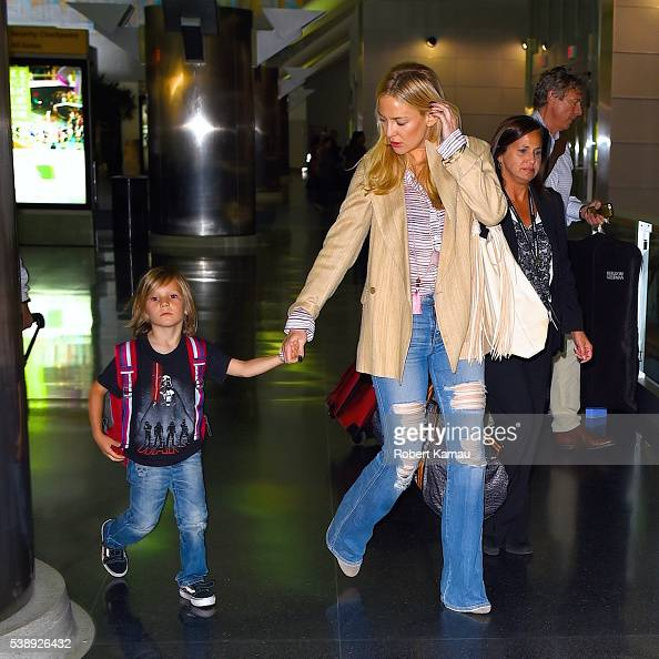 Kate Hudson and her sons Ryder Robinson and Bingham Bellamy seen at JFK Airport on June 8 2016 in New York City