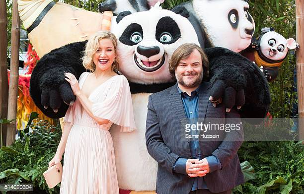 Kate Hudson and Jack Black arrive for the european premiere of 'Kung Fu Panda 3' at Odeon Leicester Square on March 6 2016 in London England