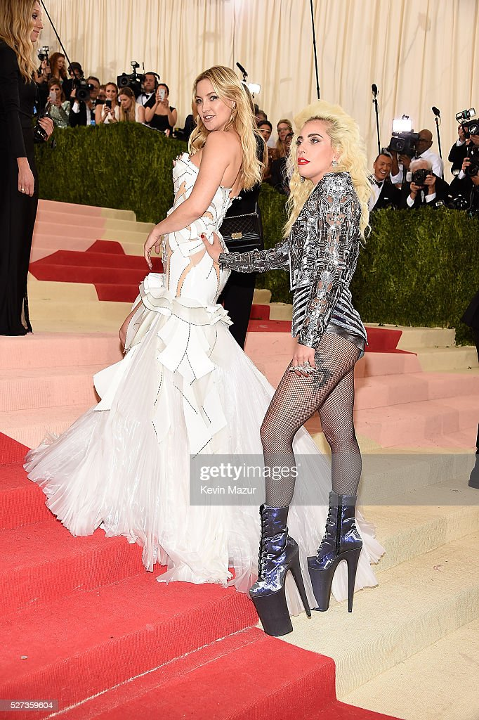 Kate Hudson and Lady Gaga attend 'Manus x Machina: Fashion In An Age Of Technology' Costume Institute Gala at Metropolitan Museum of Art on May 2, 2016 in New York City.