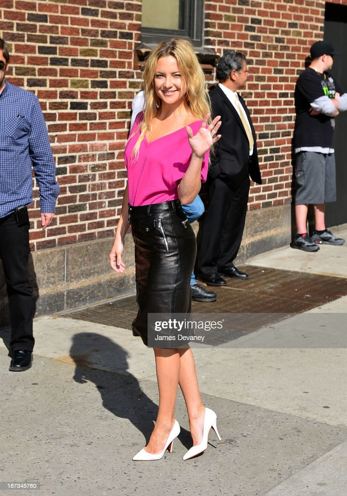 <a gi-track='captionPersonalityLinkClicked' href=/galleries/search?phrase=Kate+Hudson&family=editorial&specificpeople=156407 ng-click='$event.stopPropagation()'>Kate Hudson</a> arrives to 'Late Show With David Letterman' at Ed Sullivan Theater on April 24, 2013 in New York City.