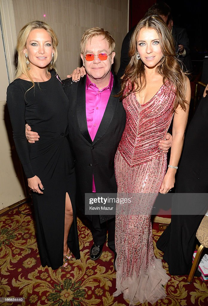 Kate Hudson, Elton John and Elizabeth Hurley attend the Breast Cancer Foundation's Hot Pink Party at the Waldorf Astoria Hotel on April 17, 2013 in New York City.