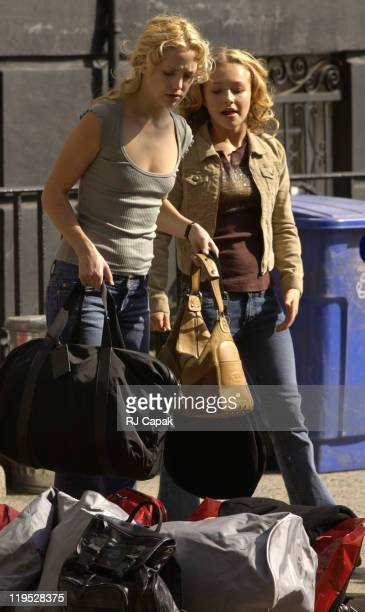 Kate Hudson Hayden Panettiere during 'Raising Helen' on Location New York at SoHo in New York City New York United States