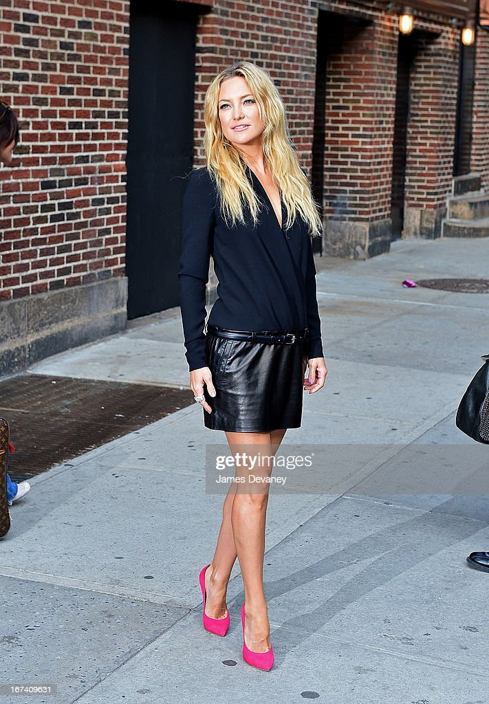 <a gi-track='captionPersonalityLinkClicked' href=/galleries/search?phrase=Kate+Hudson&family=editorial&specificpeople=156407 ng-click='$event.stopPropagation()'>Kate Hudson</a> leaves the 'Late Show With David Letterman' at Ed Sullivan Theater on April 24, 2013 in New York City.
