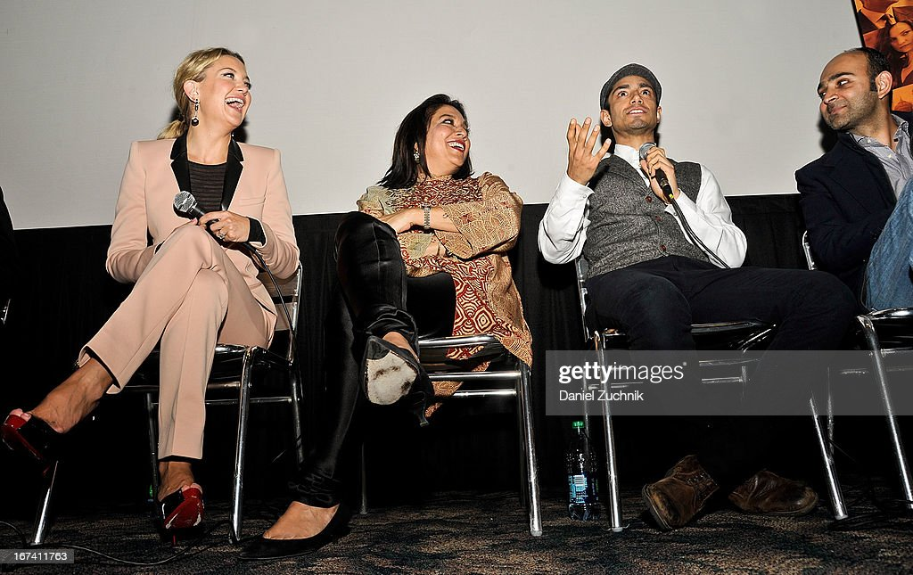 Kate Hudson, Mira Nair, Riz Ahmed and Mohsin Hamid attend the Q&A following 'The Reluctant Fundamentalist' screening during the 2013 New York Indian Film Festival at Big Cinemas Manhattan on April 24, 2013 in New York City.