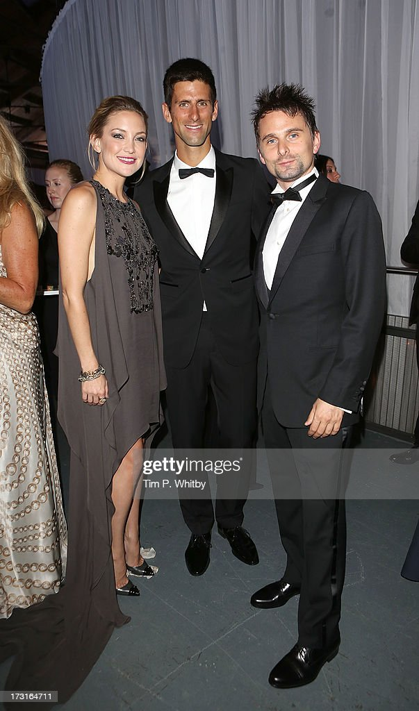 Kate Hudson, Novak Djokovic and Matt Bellamy attend the Novak Djokovic Foundation inaugural London gala dinner at The Roundhouse on July 8, 2013 in London, England. The foundation supports vulnerable and disadvantaged children, especially in Djokovic's native Serbia.