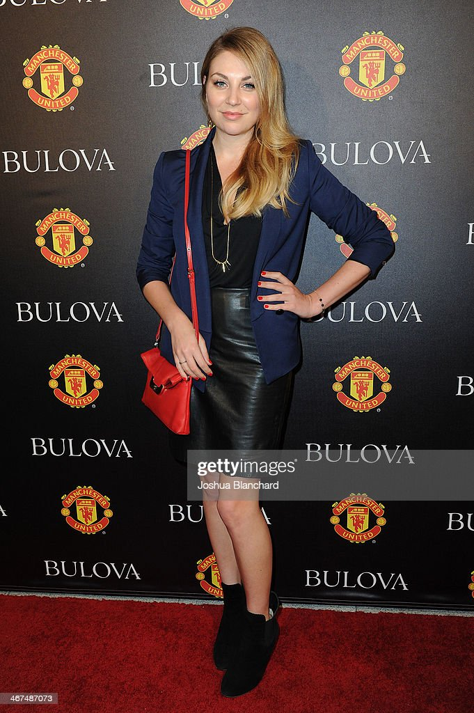 Kate Jenkinson arrives at the Bulova/Manchester United Trophy Tour Red Carpet Event at the W Hollywood on February 6 2014 in Hollywood California