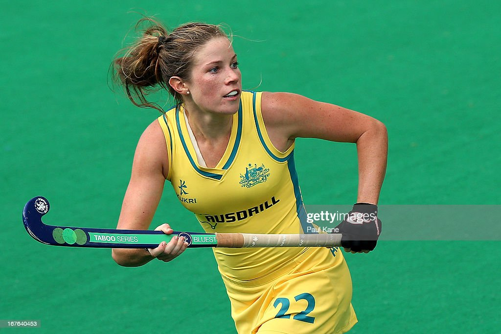 Kate Jenner of Australia looks on during the International Test match between the Australian Hockeyroos and Korea at Perth Hockey Stadium on April 27, 2013 in Perth, Australia.