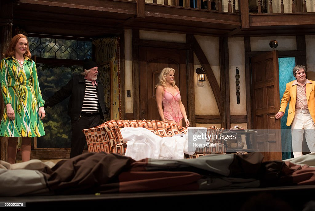 Kate Jennings Grant Daniel Davis Megan Hilty and Jeremy Shamos perform onstage during 'Noises Off' Broadway opening night at American Airlines...