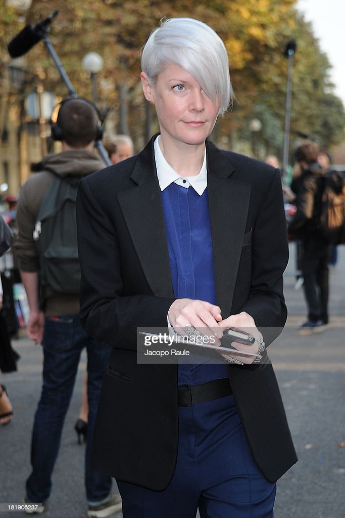 Kate Lanphear arrives at the Balenciaga fashion show during Paris Fashion Week Womenswear SS14 Day 3 on September 26 2013 in Paris France