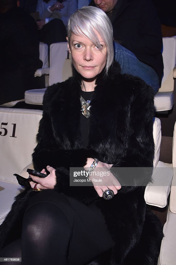 Kate Lanphear attends the Emporio Armani Show as a part of Milan Menswear Fashion Week Fall Winter 2015/2016 on January 19 2015 in Milan Italy