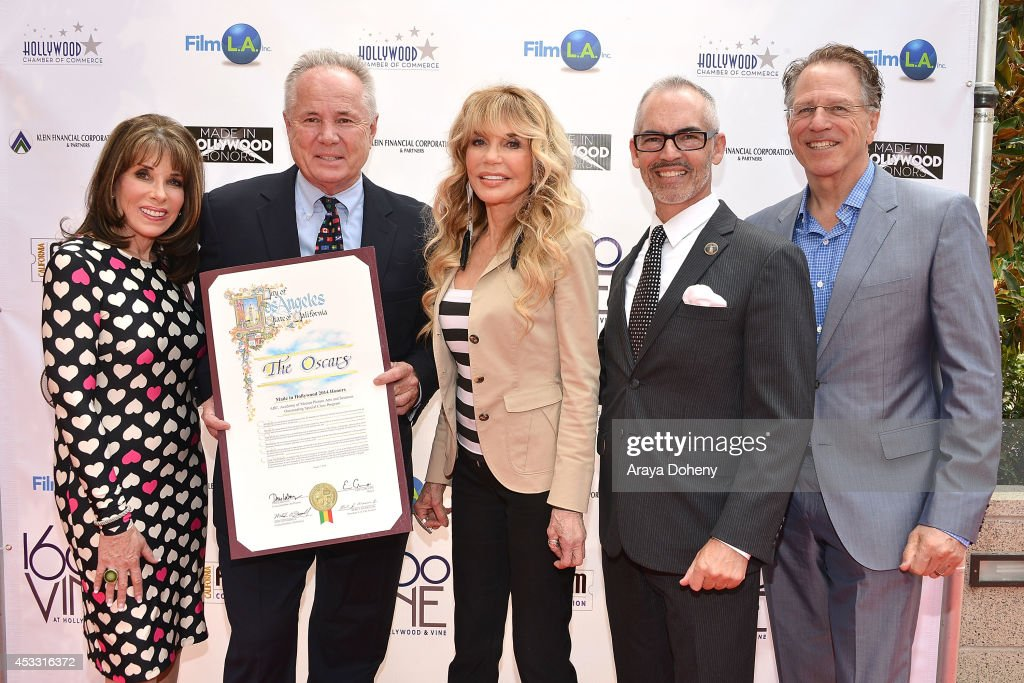 Kate Linder, Tom LaBonge, Dyan Cannon, Mitch O'Farrell and Robert Klein attend the 3rd annual Made in Hollywood Honors Presentation at Heart of Hollywood Terrace on August 7, 2014 in Hollywood, California.