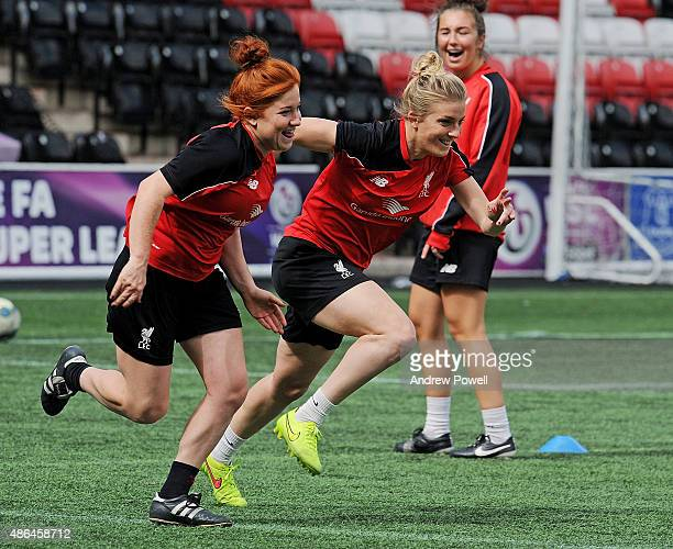 Kate Longhurst and Martha Harris of Liverpool Ladies in action during a training session at Select Security Stadium on September 4 2015 in Widnes...