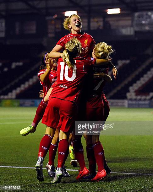 Kate Longhurst of Liverpool celebrates after scoring the second during the WSL match between Everton Ladies and Liverpool Ladies at Select Security...