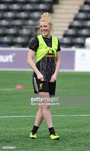 Kate Longhurst of Liverpool Ladies during a preseason training session at Select Security Stadium on March 21 2014 in Widnes England