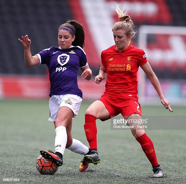 Kate Longhurst of Liverpool Ladies FC in action with Carla Humphrey of Doncaster Rovers Belles during the FA WSL match between Liverpool Ladies FC...