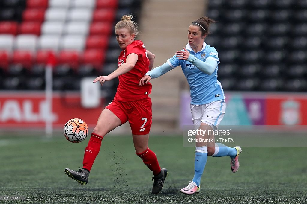 Kate Longhurst of Liverpool Ladies FC in action with Jane Ross of Manchester City Women during the FA WSL match between Liverpool Ladies FC and Manchester City Women at the Halton Stadium on May 25, 2016 in Widnes, England.