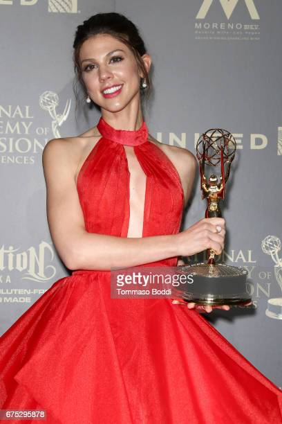 Kate Mansi poses in the Press Room during the 44th Annual Daytime Emmy Awards at Pasadena Civic Auditorium on April 30 2017 in Pasadena California