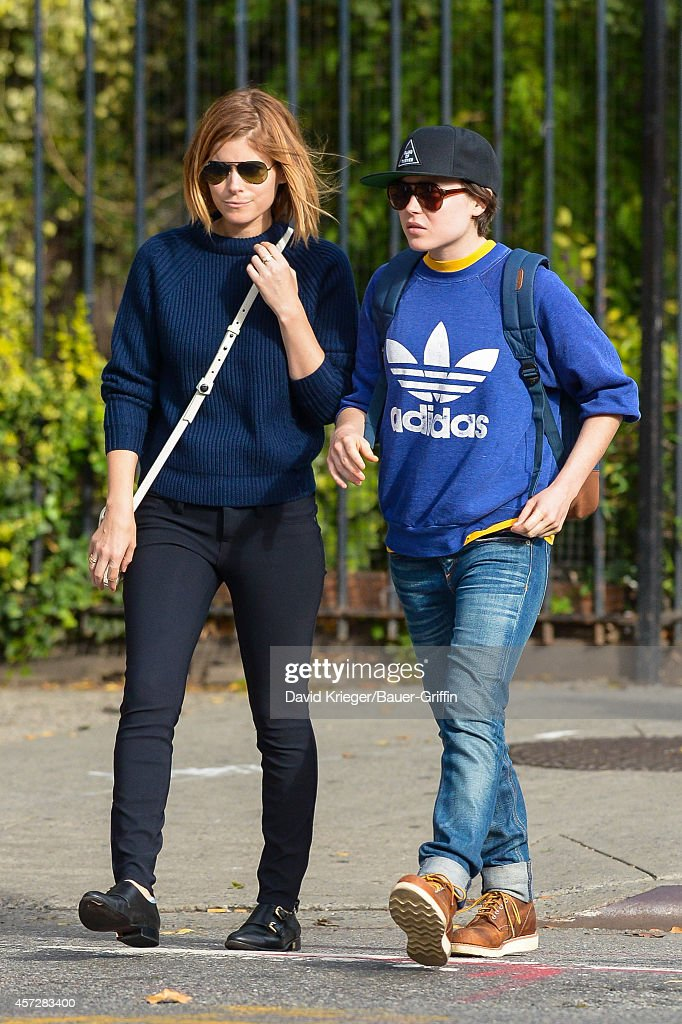 Kate Mara and Ellen Page are seen in New York City on October 15, 2014 in New York City.