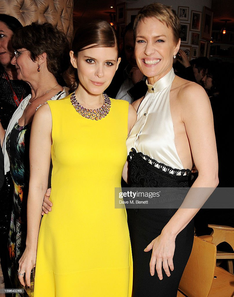 Kate Mara (L) and Robin Wright attends an after party celebrating the Red Carpet Premiere of the Netflix original series 'House of Cards' at Asia de Cuba, St Martins Lane Hotel, on January 17, 2013 in London, England.
