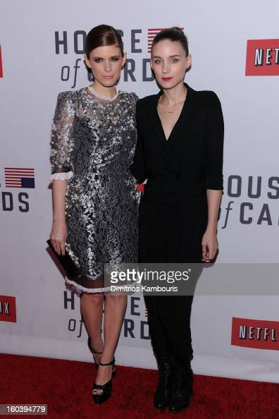 Kate Mara and Rooney Mara attend the Netflix's 'House Of Cards' New York Premiere at Alice Tully Hall on January 30 2013 in New York City