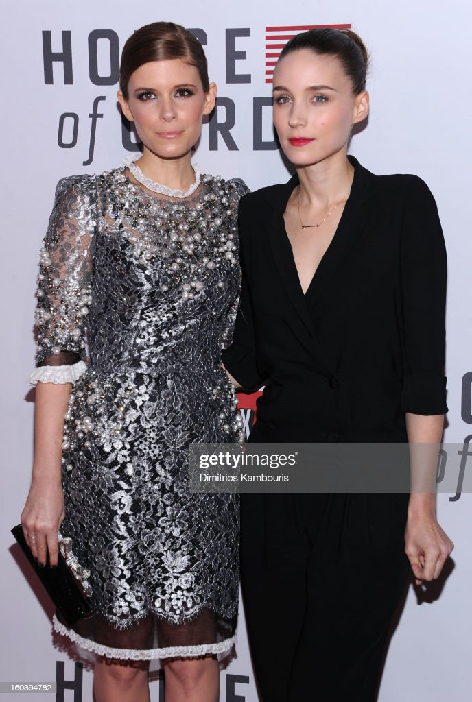 <a gi-track='captionPersonalityLinkClicked' href=/galleries/search?phrase=Kate+Mara&family=editorial&specificpeople=544680 ng-click='$event.stopPropagation()'>Kate Mara</a> and <a gi-track='captionPersonalityLinkClicked' href=/galleries/search?phrase=Rooney+Mara&family=editorial&specificpeople=5669181 ng-click='$event.stopPropagation()'>Rooney Mara</a> attend the Netflix's 'House Of Cards' New York Premiere at Alice Tully Hall on January 30, 2013 in New York City.