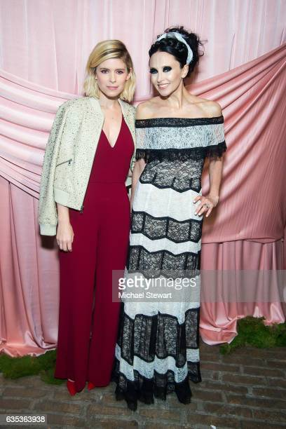 Kate Mara and Stacey Bendet attend the Alice Olivia by Stacey Bendet presentation during February 2017 New York Fashion Week at Highline Stages on...