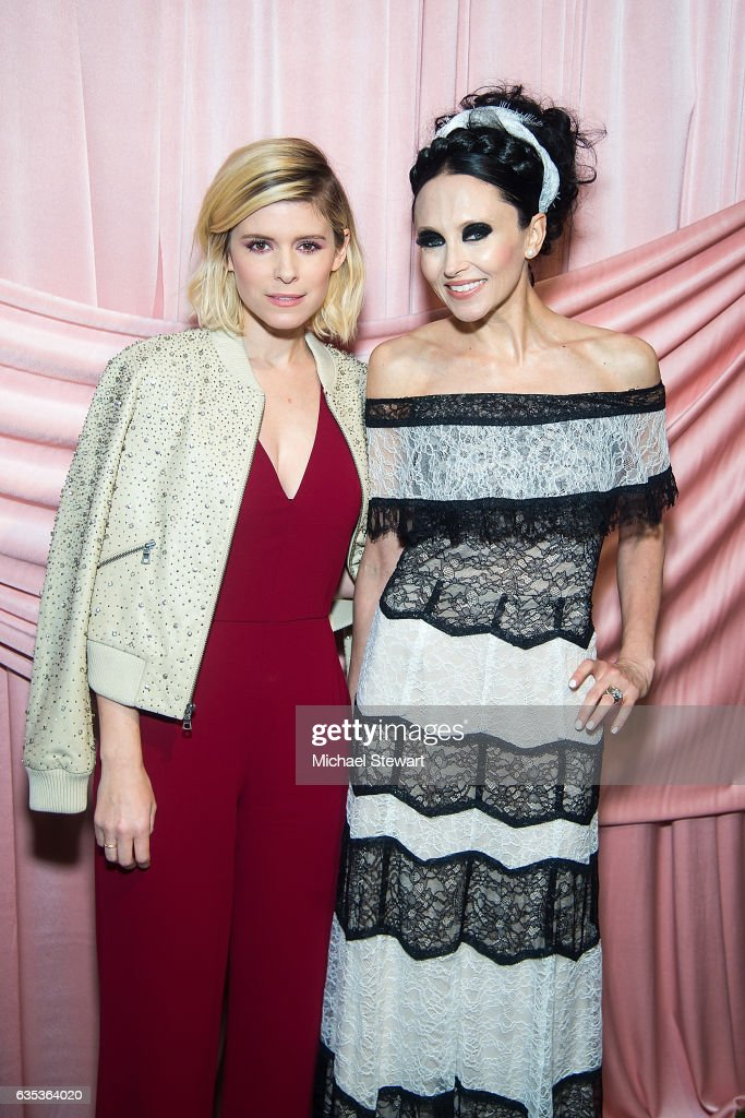 Kate Mara (L) and Stacey Bendet attend the Alice + Olivia by Stacey Bendet presentation during February 2017 New York Fashion Week at Highline Stages on February 14, 2017 in New York City.
