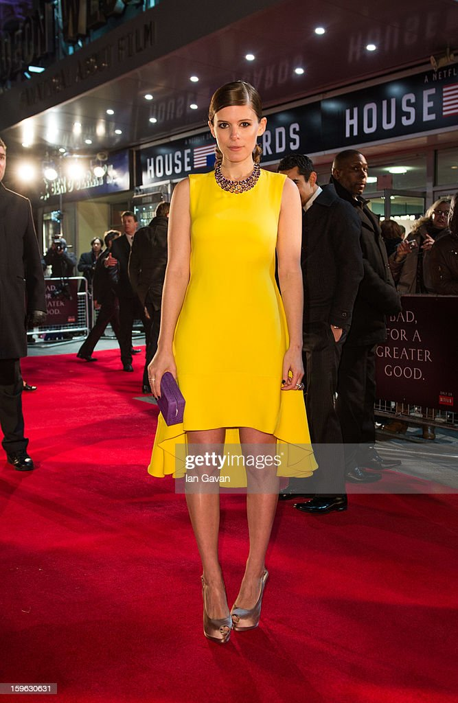 Kate Mara attends the red carpet premiere for the launch of Netflix Original Series 'House of Cards' at Odeon West End on January 17, 2013 in London, England.
