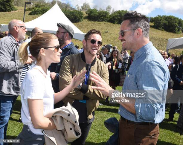 Kate Mara Jamie Bell and Scott Cooper attend the Telluride Film Festival 2017 on September 1 2017 in Telluride Colorado