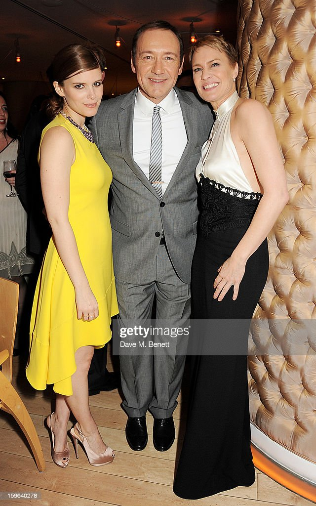 (L to R) Kate Mara, Kevin Spacey and Robin Wright attend an after party celebrating the Red Carpet Premiere of the Netflix original series 'House of Cards' at Asia de Cuba, St Martins Lane Hotel, on January 17, 2013 in London, England.